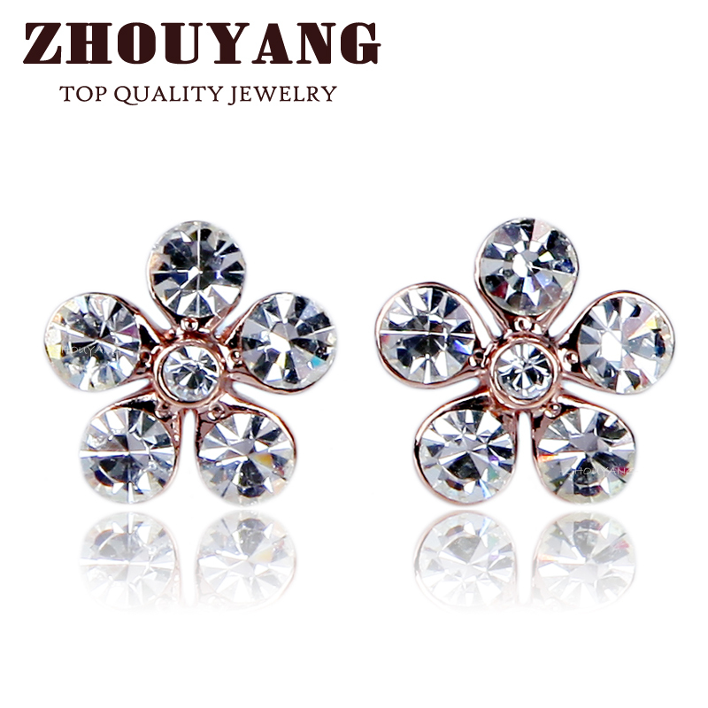 ZYE399 Flower Crystal Rose Gold Color Stud Earrings Jewelry Made with Genuine Austrian Crystal Wholesale