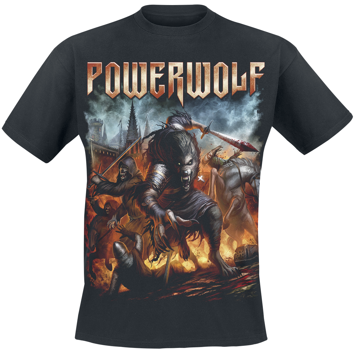 Powerwolf Viking Kurt T-Shirt siyah