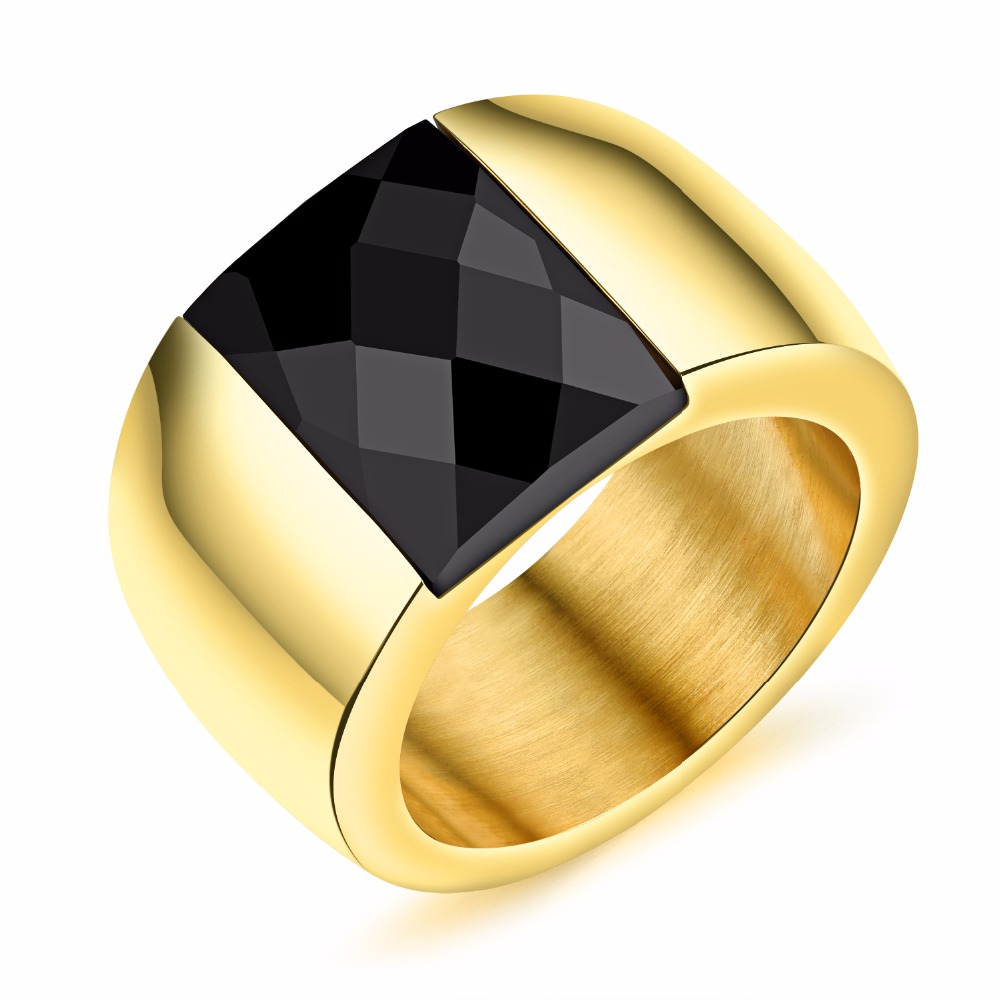 FATE LOVE Luxury Gold Color Cool Black Crystal Inlaid Rings Titanium Steel Man Jewelry Accessory Band Gift For Boy Never Fade