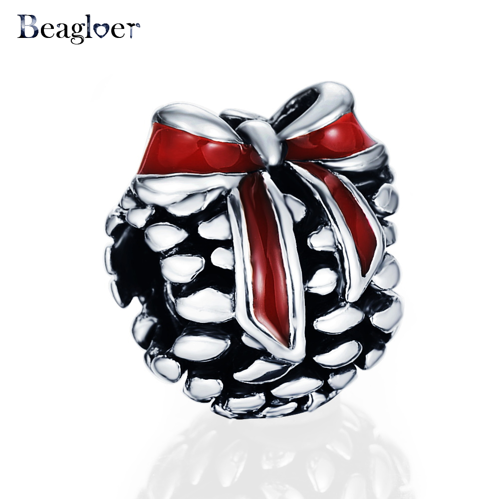 Beagloer New Spring Collection 925 Sterling Silver Red Bowknot Charm Fit Handmade Bracelets DIY Jewelry Gift Wholesale PSMB0115