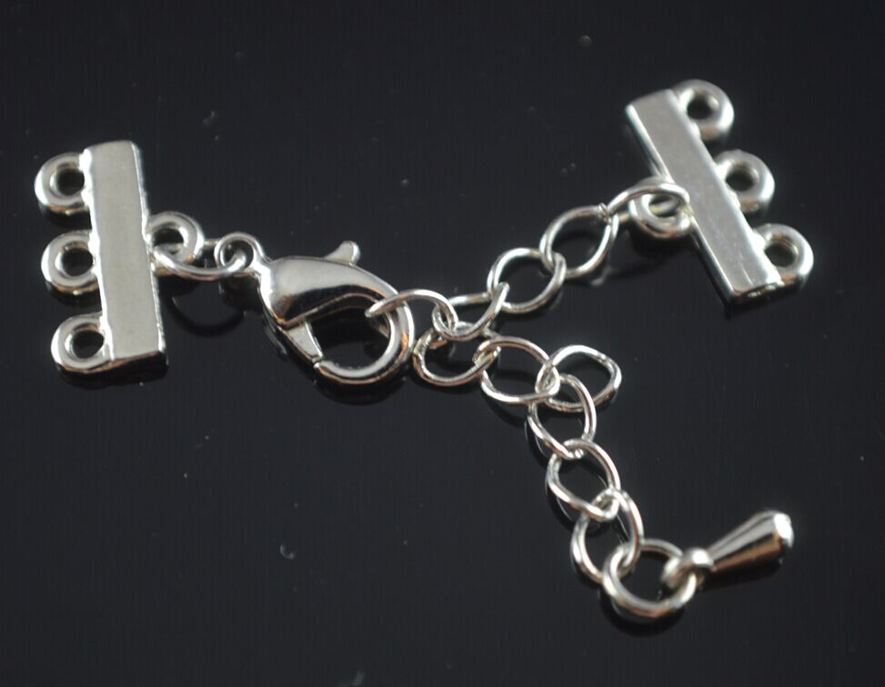 100pcs Imitation Rhodium Plated 3 Row Clasp Chain Bracelets and Lobster Clasp Extender Chain 13*8mm Jewelry Clasps