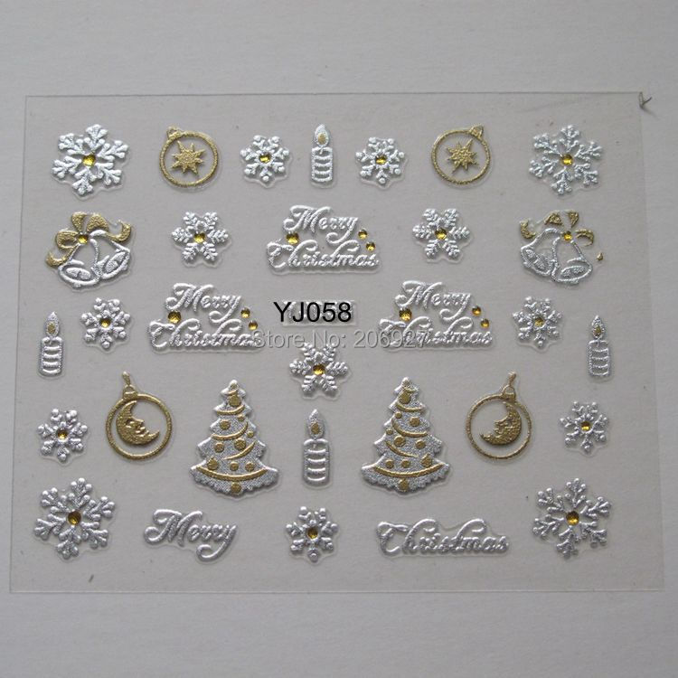 2 ADET YJ058 Nail Art Sevimli Noel Sticker Nail Art Sticker