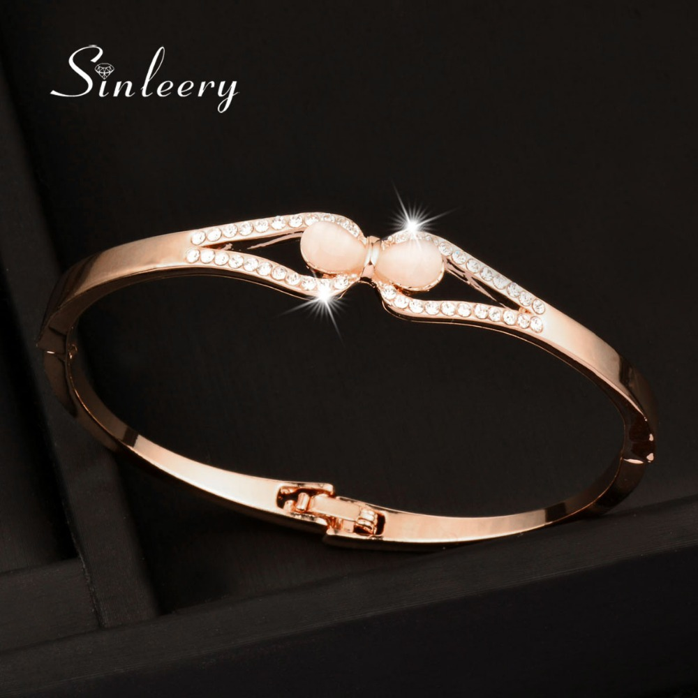 SINLEERY Charm Opal Bow Bangle Bracelet Cuff Women White/Rose Gold Color Zircon Bangle Party Jewelry Gifts SL050