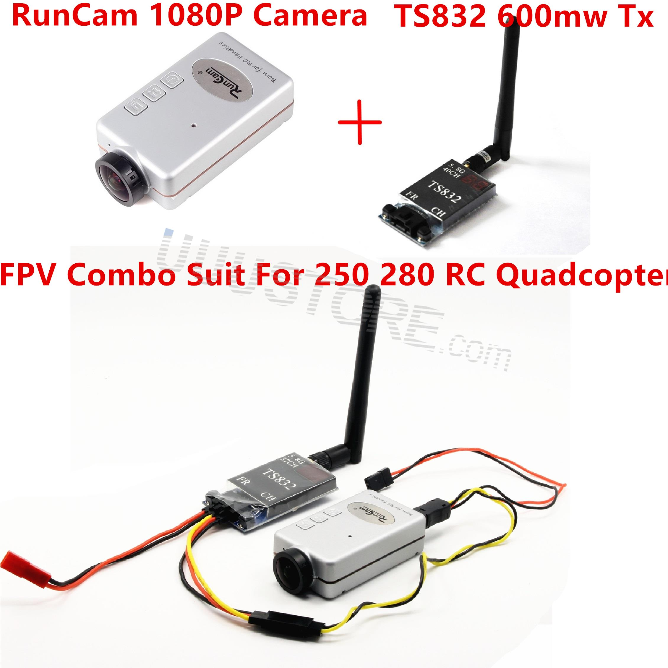 Mini DVR ile FPV Combo RunCam Yarış Için 1080 P TS832 Video Verici Drone QAV250 RC Quadcopter