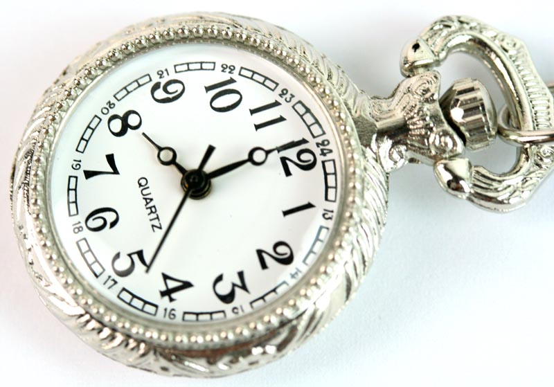 Toptan 27mm ZARIF SILVER-PLATED KUVARS POCKET WATCH