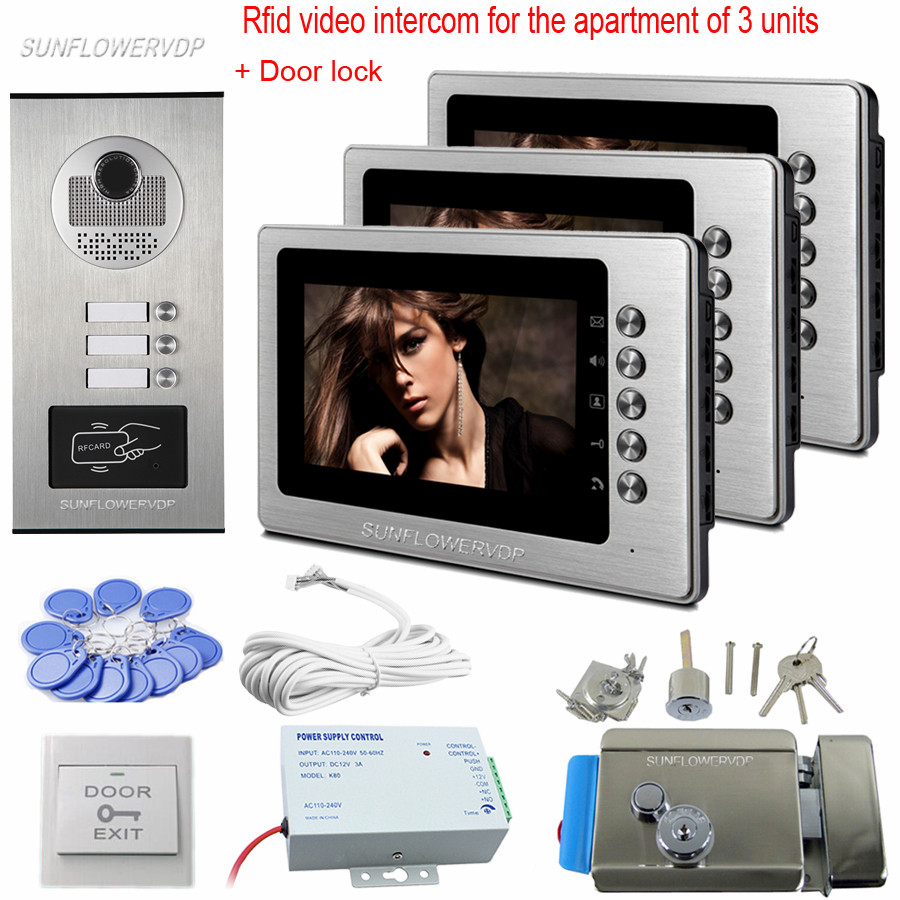 "7 ""renkli Monitör Interkom Video Diyafon 3 Apartments Rfid Için Video Kamera ve Kapı Kilidi Ile Video Kapıcı Kaleci Ev Kiti"