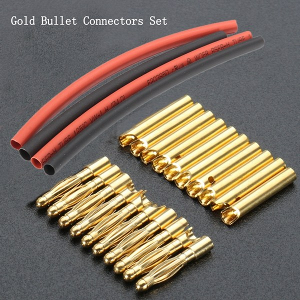 Altın 20 Adet 2mm Metal Banana Connector Plug Motor RC Pil DIY heatshrink tüp ile