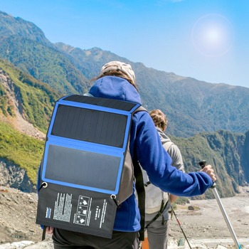 PowerGreen Solar Power Bag 5V 2A Phone Charger 21 Watts Solar Power Bank Foldable Solar Panel Battery Backup for Hiking for Trip