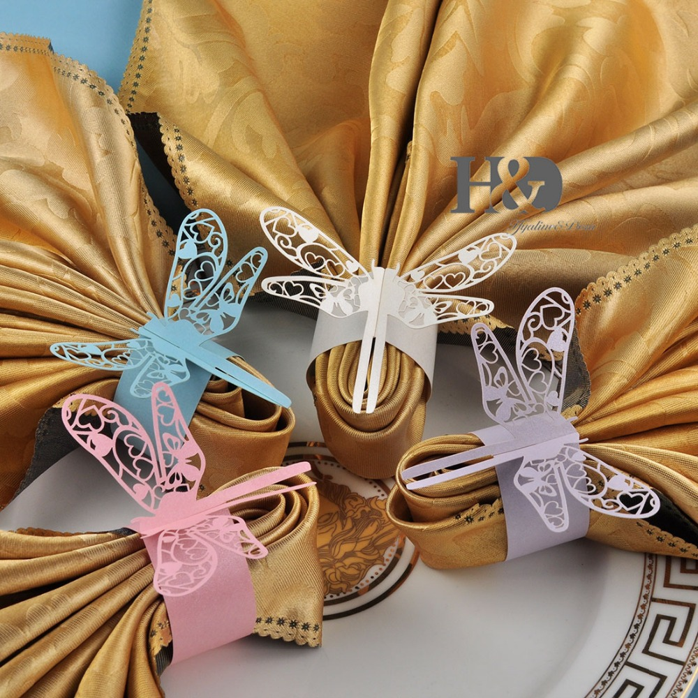 Four colors for your chose Laser cut Dragonfly paper napkin Rings Holders Party Wedding Favors for weddings patry Decoration