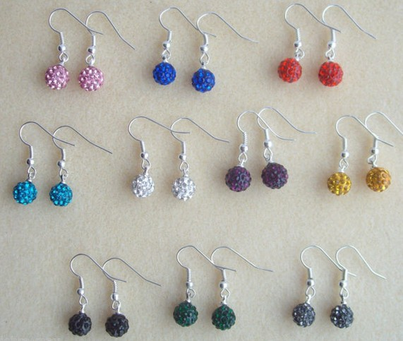 Wholesale!DHL EMS free +Gift.10mm 10 Mixed Color Each 100 Pair fashion hotsale Shamballa Earrings Stud Women Jewelry.