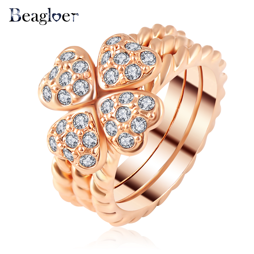 Four Leaf Cover shaped Ring Rose Gold/Silver Color Austrian Crystal Ring Ri-HQ1157