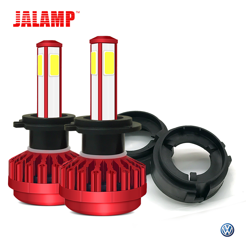 Far 12 V H7 LED Araba Işıkları Ile O Uinque 4-side Chip Ampüller VW Volkswagen GOLF Için 2 adet Adaptör Baz 6 Multivan Touran Sharan