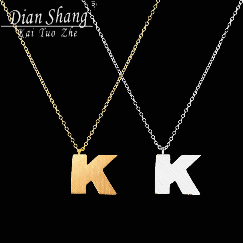 DIANSHANGKAITUOZHE Letter K Necklace Women 2 colours Necklaces Pendants Statement long Necklace Collier collares